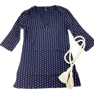 J. CREW NAVY ANCHOR TUNIC TOP SWIMSUIT COVER